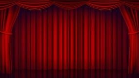 Vector rojo de la cortina del teatro Teatro, ópera o escena cerrada del cine El rojo realista cubre el ejemplo ilustración del vector