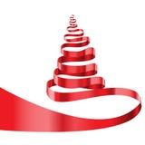 Vector rojo del blanco del árbol de navidad de la cinta Imagen de archivo libre de regalías