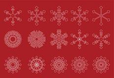 Vector rojo del fondo de los copos de nieve blancos Imagen de archivo libre de regalías