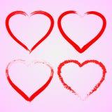 Vector rojo del símbolo del corazón del amor del cepillo Foto de archivo libre de regalías