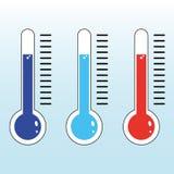 Vector rojo y azul eps10 del icono del termómetro Icono del term?metro Ejemplo plano del vector de la meta en fondo aislado stock de ilustración