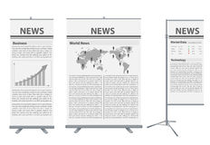 Vector roll up banner stand. With News identity background ready for use Stock Photography