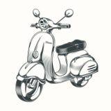 Vector Roller, das Moped, das in schwarze Tinte gezeichnet wird Stockbilder