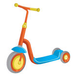 Vector roller scooter. Balance bike. Cartoon cute color kick scooter for design or web pages, posters. Push scooter isolated on wh Royalty Free Stock Image