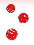 Vector rolling red dice. Three rolling red dice with shadow vector illustration