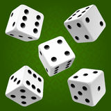 Vector rolling white dice set. On green background of cards colour Royalty Free Stock Image
