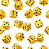 Vector rolling yellow dice seamless background. On white vector illustration