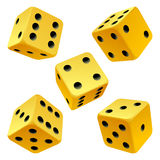 Vector rolling yellow dice set Stock Photography