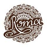 Vector Roma illustration on mandala background. Retro typography design. Handwritten illustration. Stock Photos