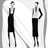 Vector hand-drawn romantic art deco portrait women. Stock Photo