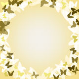 Vector romantic background  with  butterflies. Vector romantic background beige with gold, brown and white butterflies and the words Royalty Free Stock Image
