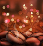 Vector romantic background with coffee beans close Stock Photo