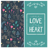 Vector romantic card with love quote in square. Frame. One love one heart. Floral hand drawn pattern Stock Photo