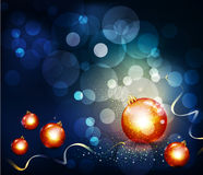 Vector romantic christmas background with two glas Stock Photo