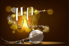 Vector romantic christmas background with two glasses and christmas balls. Royalty Free Stock Image