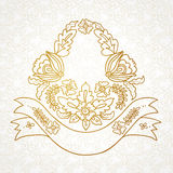 Vector romantic coat of arms with flowers, ribbons, leaves. Royalty Free Stock Photos