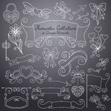 Vector Romantic Collection of Hand Drawn Design Elements Royalty Free Stock Photo
