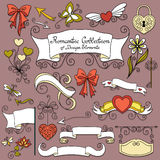Vector Romantic Collection of Hand Drawn Design Elements Stock Photography