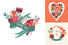 Vector romantic collection with label, ribbon Stock Image