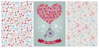 Vector romantic collection. Vintage bicycles and hearts patterns, love, valentine, wedding invitation card. Stock Photography