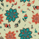 Vector romantic doodle floral pattern with birds Stock Photography