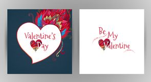 Vector romantic floral card Be My Valentine. Royalty Free Stock Image