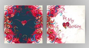 Vector romantic floral card Be My Valentine. Royalty Free Stock Images