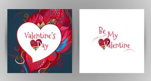 Vector romantic floral card Be My Valentine. Royalty Free Stock Photography