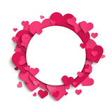 Vector romantic frame template, pink paper hearts Royalty Free Stock Photos