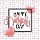 Vector romantic holiday illustration of pink balloon hearts Royalty Free Stock Photo