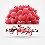 Vector romantic holiday illustration of red balloons. Vector romantic holiday illustration of red helium glossy balloon hearts, `Hapy Valentine`s Day` lettering Stock Image