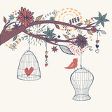 Vector romantic illustration with bird out of cages, branches Stock Photos