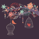 Vector romantic illustration with bird out of cages, branches Royalty Free Stock Photos