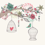 Vector romantic illustration with bird out of cages, branches Stock Image