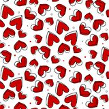 Vector romantic pattern, polka dot with red heart. Can be used for wallpaper, pattern fill, web page background,surface Royalty Free Stock Photos