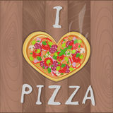 Vector romantic pizza on wooden background in flat style and heart shape and I love pizza text. Pizza design for romantic cards, v Royalty Free Stock Photos