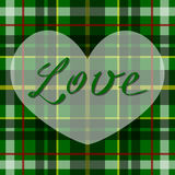 Vector romantic scottish tartan heart in green, white and black. British or irish celtic design for invitation, greeting, celebrat Royalty Free Stock Image