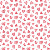 Vector romantic seamless pattern with hand drawn red heart doodles Stock Photo