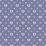 Vector romantic seamless pattern with small outline pink hearts on blue backdrop. Vector seamless pattern with small outline pink hearts on blue backdrop royalty free illustration