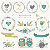 Vector romantic set with bouquets, birds, hearts, arrows, ribbon Royalty Free Stock Photography