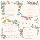Vector romantic set of floral frames, with couple of birds and hearts in pastel colors. Stock Images
