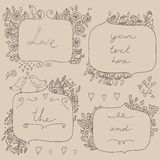 Vector romantic set of floral frames, with couple of birds and hearts. Royalty Free Stock Image