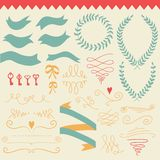 Vector  romantic set with labels, ribbons, hearts, flowers,bows , wreaths, laurel and keys. Royalty Free Stock Photography