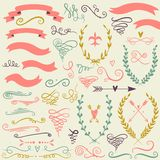 Vector  romantic set with labels, ribbons, hearts, flowers, wreaths and laurel. Royalty Free Stock Images
