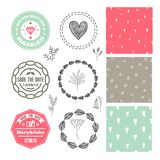 Vector romantic set. Wedding badges, logos, seamless hand drawn patterns, wreaths. Florals stock illustration