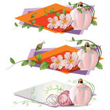 Vector romantic vignette with flowers and a perfume. Stock Image