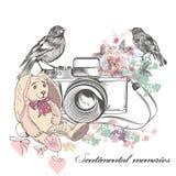 Vector romantische Karte mit alten Kameravogelblumen und Spielzeugrabbiner Lizenzfreies Stockfoto