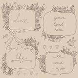 Vector romantische reeks bloemenkaders, met paar van vogels en harten Royalty-vrije Stock Afbeelding
