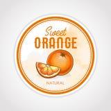 Vector rond etiket van vruchten op waterverfachtergrond, sinaasappel Stock Foto