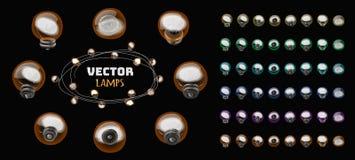Vector rond geïsoleerde lampen voor slingerontwerp stock afbeeldingen